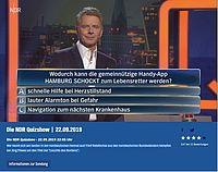 Jörg Pilawa moderiert die NDR Quizshow, in der es bei einer der Fragen um unsere ASB-Notfall-App HAMBURG SCHOCKT ging. Foto: NDR