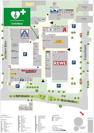 Centerplan mit AED-Standort